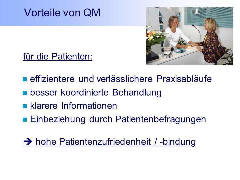 Vorteile von QM für die Patienten: effizientere und verlässlichere Praxisabläufe besser koordinierte Behandlung klarere Informationen Einbeziehung dur