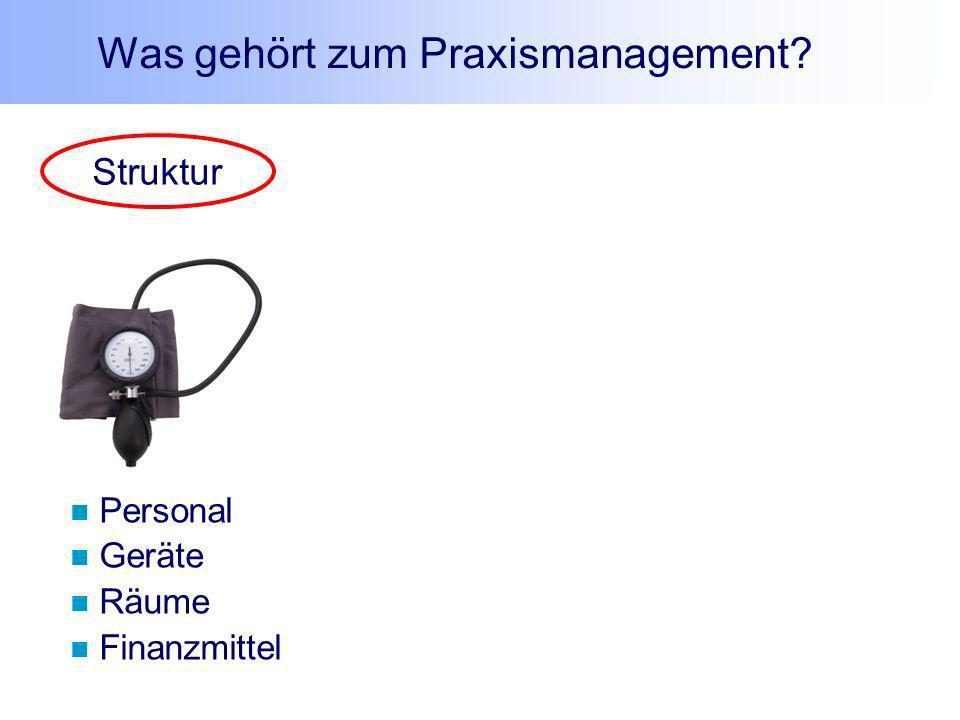 Struktur Personal Geräte Räume Finanzmittel Was gehört zum Praxismanagement?