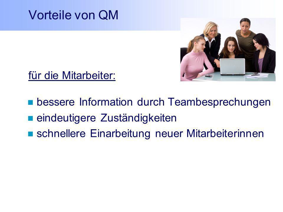 Vorteile von QM für die Mitarbeiter: bessere Information durch Teambesprechungen eindeutigere Zuständigkeiten schnellere Einarbeitung neuer Mitarbeite