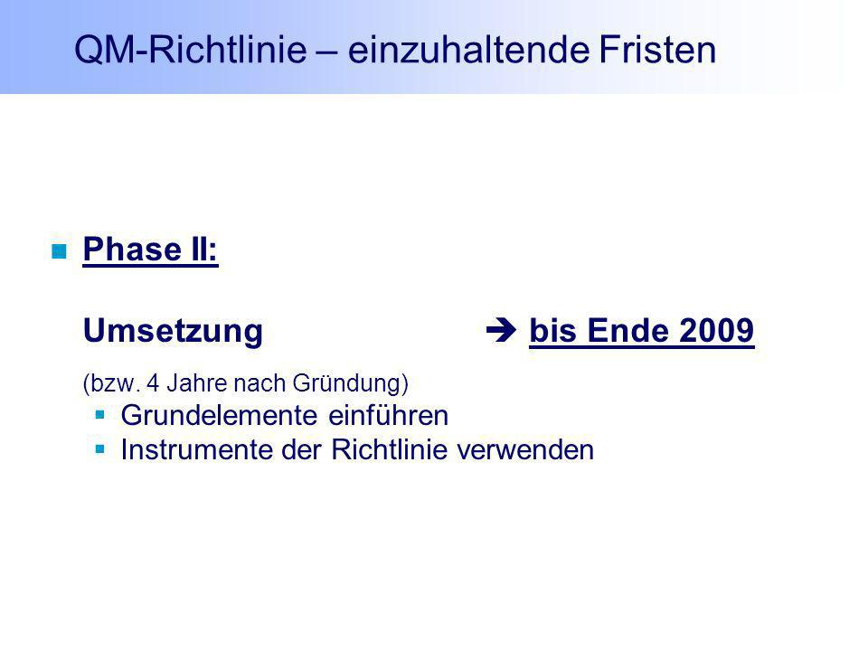 QM-Richtlinie – einzuhaltende Fristen Phase II: Umsetzung bis Ende 2009 (bzw. 4 Jahre nach Gründung) Grundelemente einführen Instrumente der Richtlini
