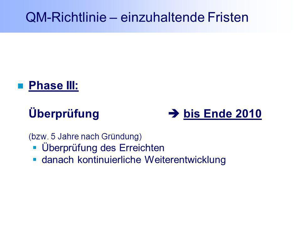 QM-Richtlinie – einzuhaltende Fristen Phase III: Überprüfung bis Ende 2010 (bzw. 5 Jahre nach Gründung) Überprüfung des Erreichten danach kontinuierli