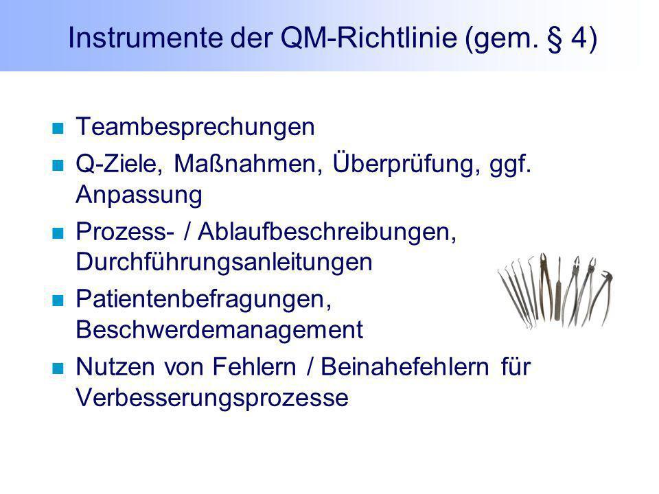 Instrumente der QM-Richtlinie (gem. § 4) Teambesprechungen Q-Ziele, Maßnahmen, Überprüfung, ggf. Anpassung Prozess- / Ablaufbeschreibungen, Durchführu