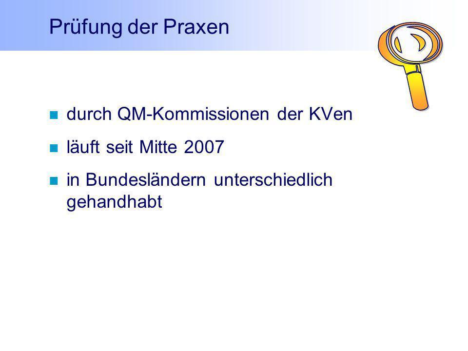 durch QM-Kommissionen der KVen läuft seit Mitte 2007 in Bundesländern unterschiedlich gehandhabt Prüfung der Praxen