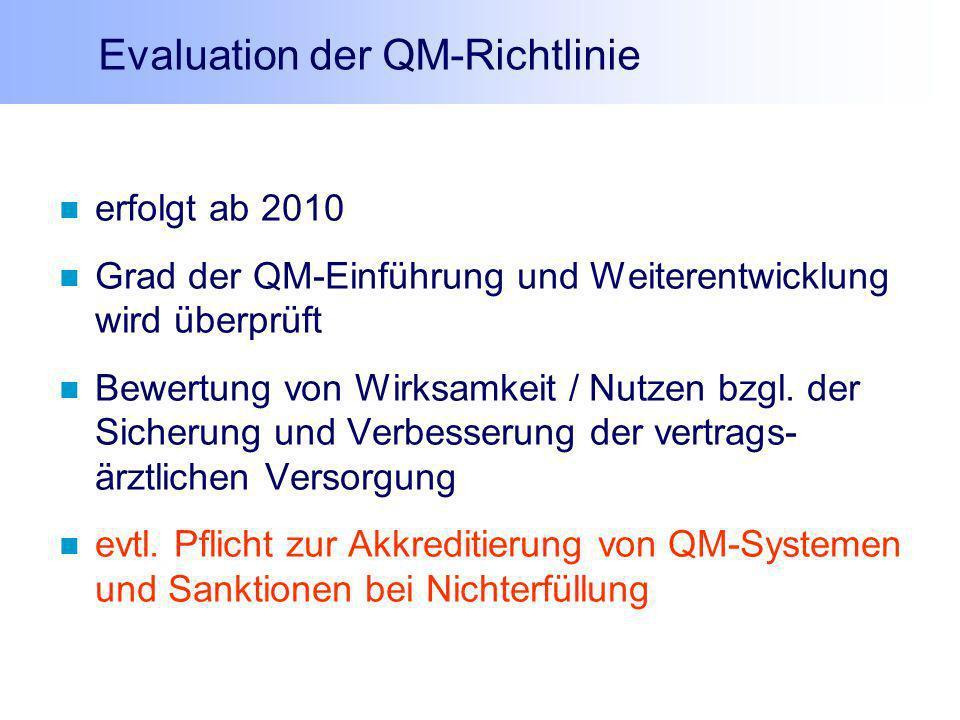 erfolgt ab 2010 Grad der QM-Einführung und Weiterentwicklung wird überprüft Bewertung von Wirksamkeit / Nutzen bzgl. der Sicherung und Verbesserung de