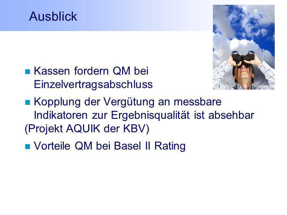 Ausblick Kassen fordern QM bei Einzelvertragsabschluss Kopplung der Vergütung an messbare Indikatoren zur Ergebnisqualität ist absehbar (Projekt AQUIK