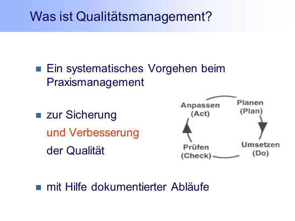 Ein systematisches Vorgehen beim Praxismanagement zur Sicherung und Verbesserung der Qualität mit Hilfe dokumentierter Abläufe Was ist Qualitätsmanage