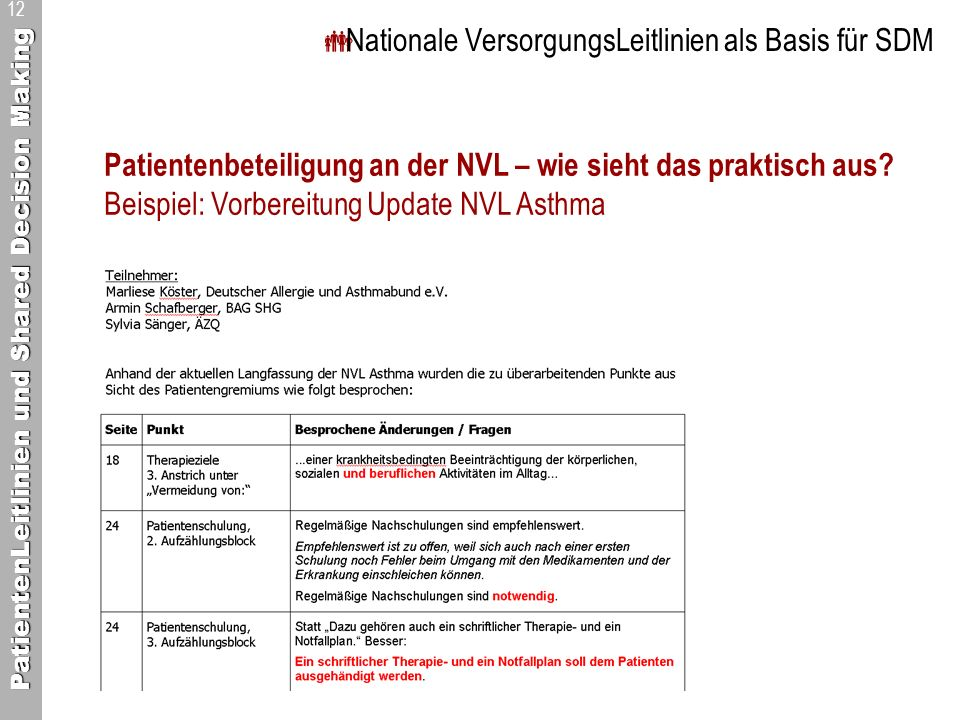 PatientenLeitlinien und Shared Decision Making 12 Nationale VersorgungsLeitlinien als Basis für SDM Patientenbeteiligung an der NVL – wie sieht das praktisch aus.