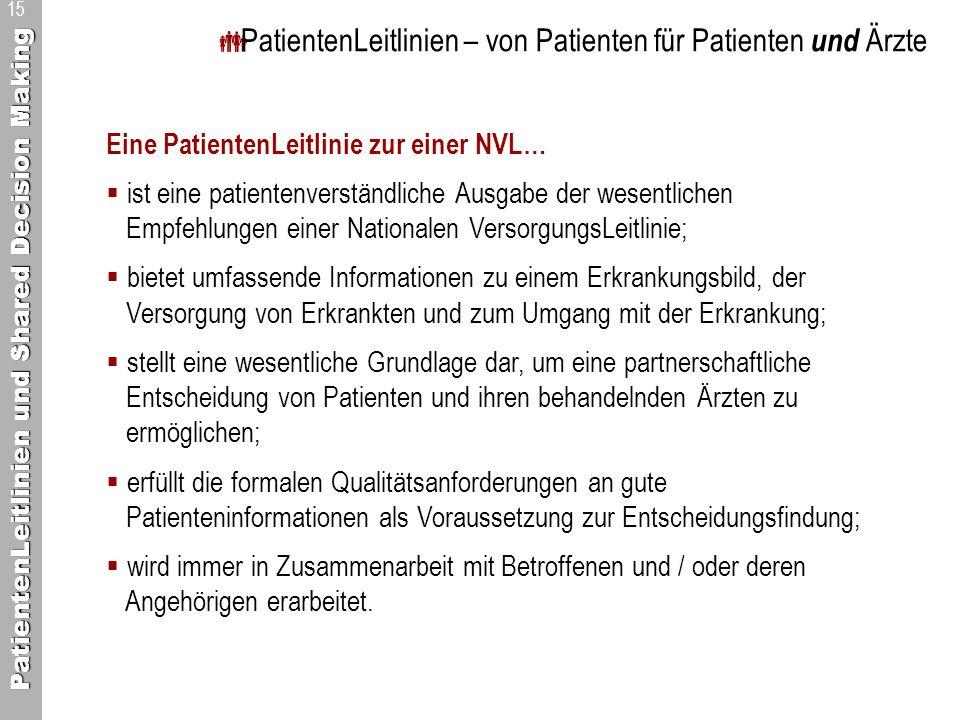 PatientenLeitlinien und Shared Decision Making 15 PatientenLeitlinien – von Patienten für Patienten und Ärzte Eine PatientenLeitlinie zur einer NVL… i
