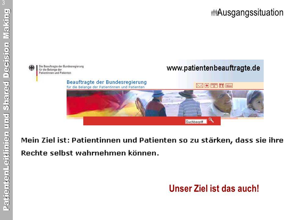 PatientenLeitlinien und Shared Decision Making 3 Ausgangssituation www.patientenbeauftragte.de Unser Ziel ist das auch!