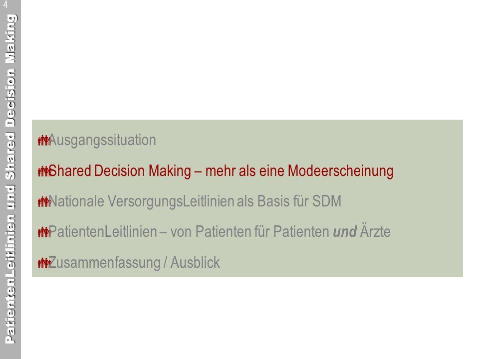 PatientenLeitlinien und Shared Decision Making 5 Shared Decision Making – mehr als eine Modeerscheinung Quelle: nach Klemperer D.