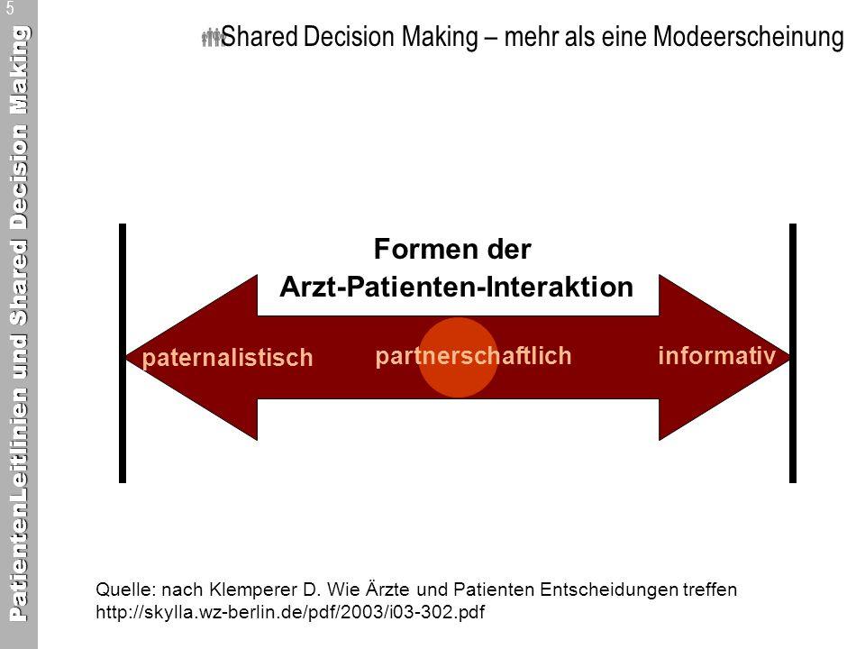 PatientenLeitlinien und Shared Decision Making 6 Shared Decision Making – mehr als eine Modeerscheinung It takes two to tango Arzt und Patient kommen auf der Basis geteilter Informationen zu einer gemeinsam verantworteten Entscheidung.