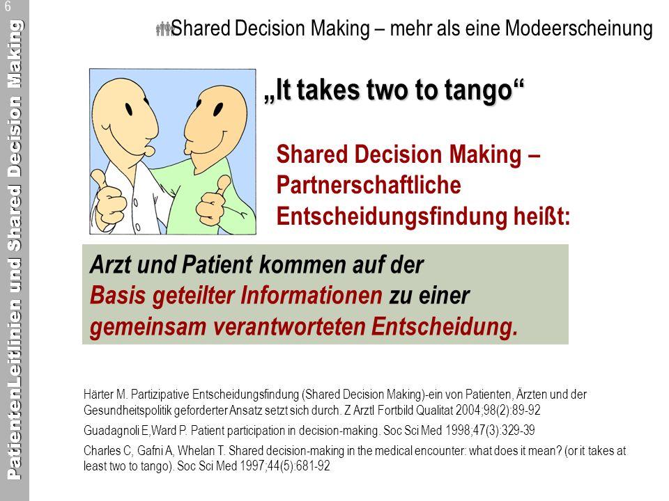 PatientenLeitlinien und Shared Decision Making 6 Shared Decision Making – mehr als eine Modeerscheinung It takes two to tango Arzt und Patient kommen