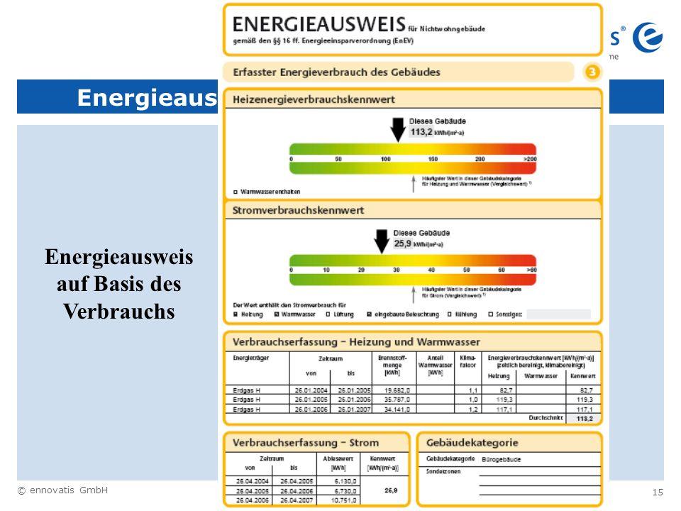 © ennovatis GmbH 15 Energieausweis auf Basis des Verbrauchs