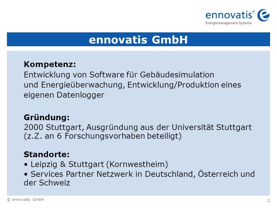 © ennovatis GmbH 2 ennovatis GmbH Kompetenz: Entwicklung von Software für Gebäudesimulation und Energieüberwachung, Entwicklung/Produktion eines eigen