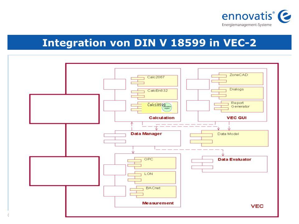 © ennovatis GmbH 7 Integration von DIN V 18599 in VEC-2 Calc18599