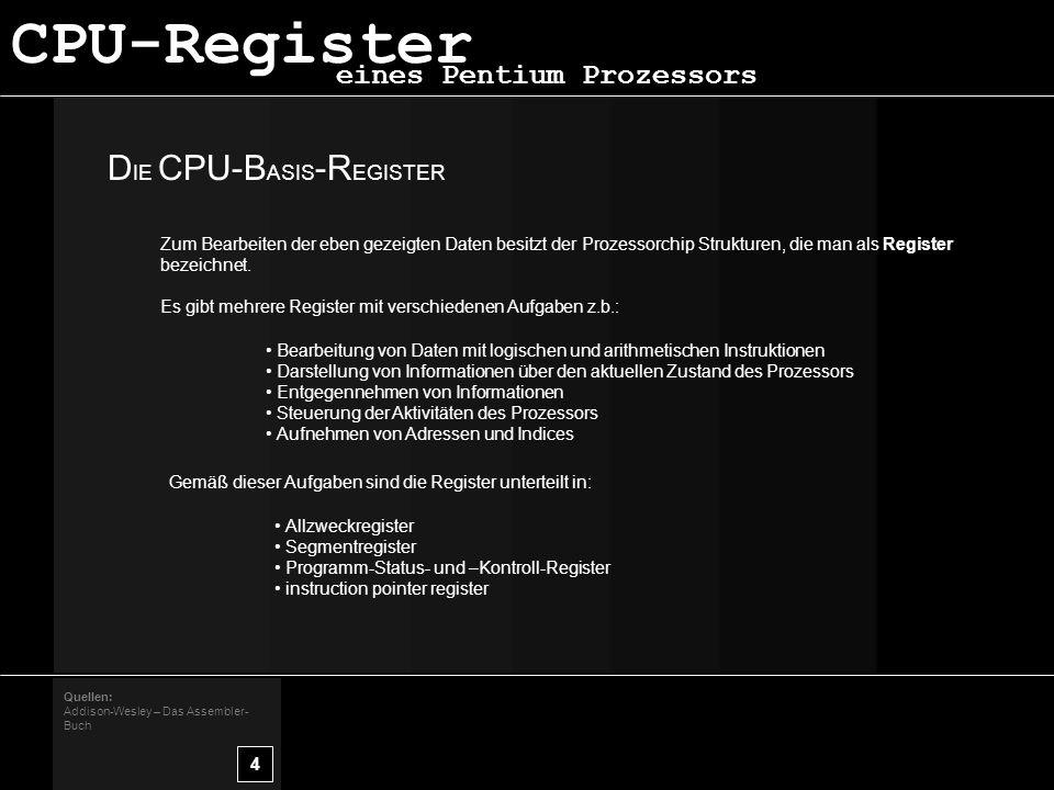 D IE CPU-B ASIS -R EGISTER 4 Quellen: Addison-Wesley – Das Assembler- Buch eines Pentium Prozessors Zum Bearbeiten der eben gezeigten Daten besitzt der Prozessorchip Strukturen, die man als Register bezeichnet.