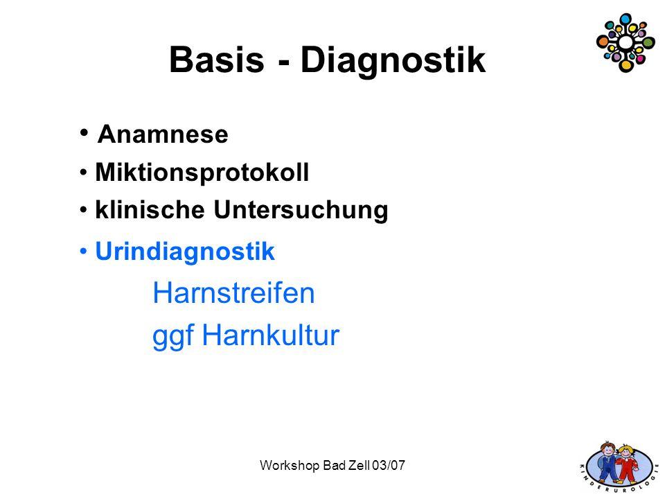 Workshop Bad Zell 03/07 Basis - Diagnostik Anamnese Miktionsprotokoll klinische Untersuchung Urindiagnostik Harnstreifen ggf Harnkultur