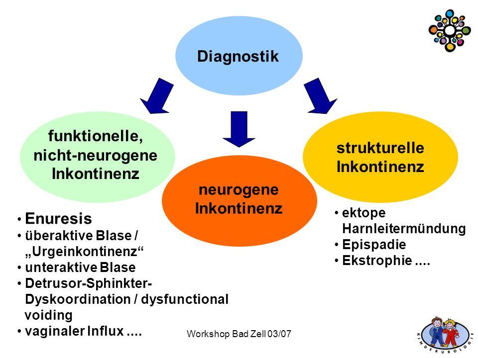 Workshop Bad Zell 03/07 Diagnostik funktionelle, nicht-neurogene Inkontinenz neurogene Inkontinenz strukturelle Inkontinenz Enuresis überaktive Blase