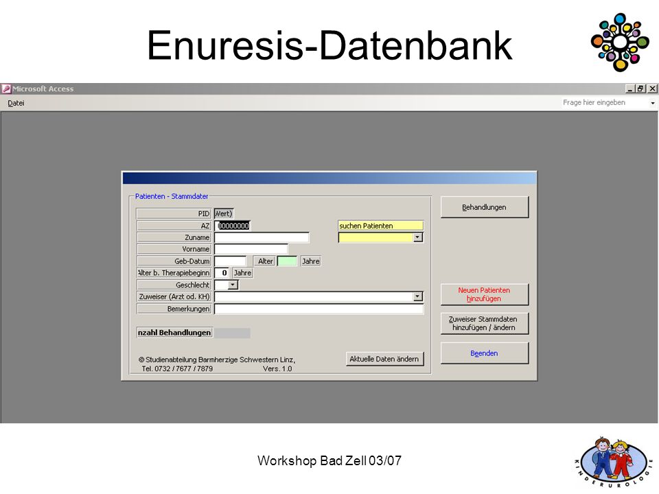 Workshop Bad Zell 03/07 Enuresis-Datenbank