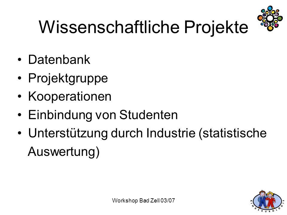 Workshop Bad Zell 03/07 Wissenschaftliche Projekte Datenbank Projektgruppe Kooperationen Einbindung von Studenten Unterstützung durch Industrie (stati