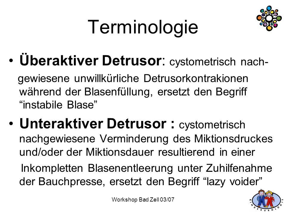 Workshop Bad Zell 03/07 Terminologie Überaktiver Detrusor: cystometrisch nach- gewiesene unwillkürliche Detrusorkontrakionen während der Blasenfüllung