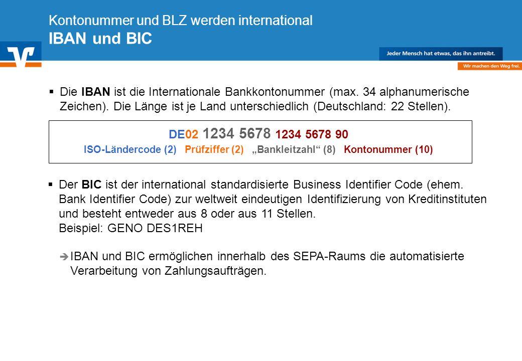 Diagramm Text / Bild BildText Diagramm Ende Diagramm Text / Bild Kontonummer und BLZ werden international IBAN und BIC Die IBAN ist die Internationale