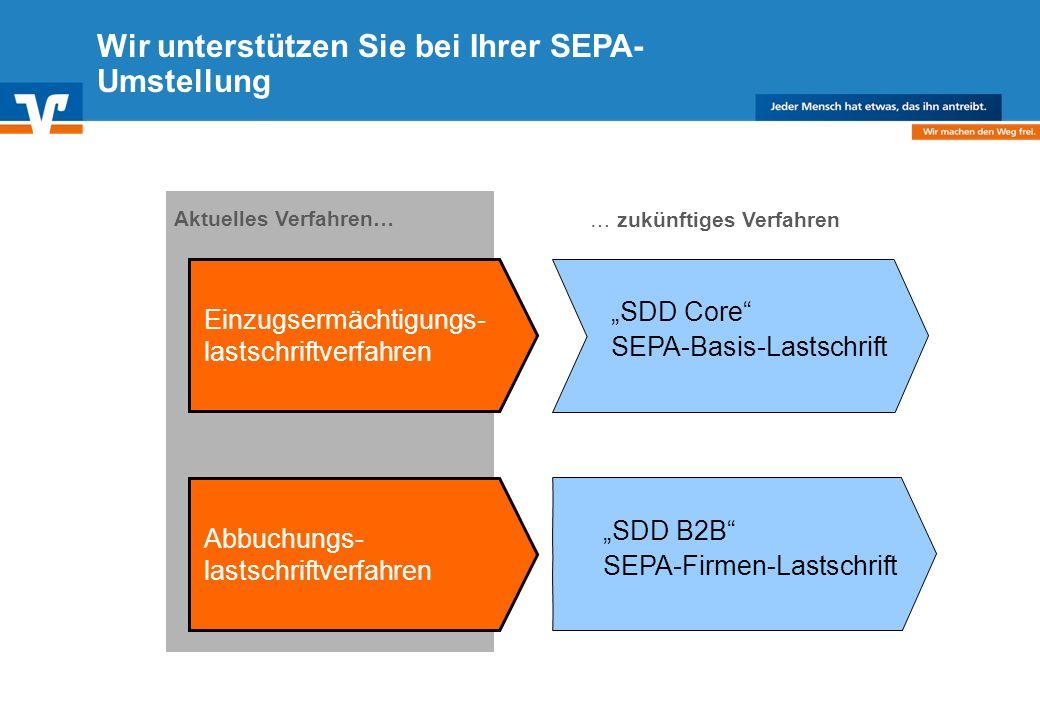 Diagramm Text / Bild BildText Diagramm Ende Diagramm Text / Bild Wir unterstützen Sie bei Ihrer SEPA- Umstellung Einzugsermächtigungs- lastschriftverfahren SDD Core SEPA-Basis-Lastschrift Aktuelles Verfahren… Abbuchungs- lastschriftverfahren SDD B2B SEPA-Firmen-Lastschrift … zukünftiges Verfahren