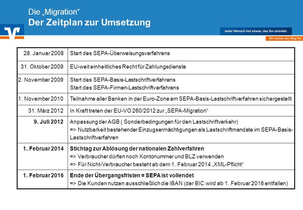 Diagramm Text / Bild BildText Diagramm Ende Diagramm Text / Bild Die Migration Der Zeitplan zur Umsetzung 28. Januar 2008Start des SEPA-Überweisungsve