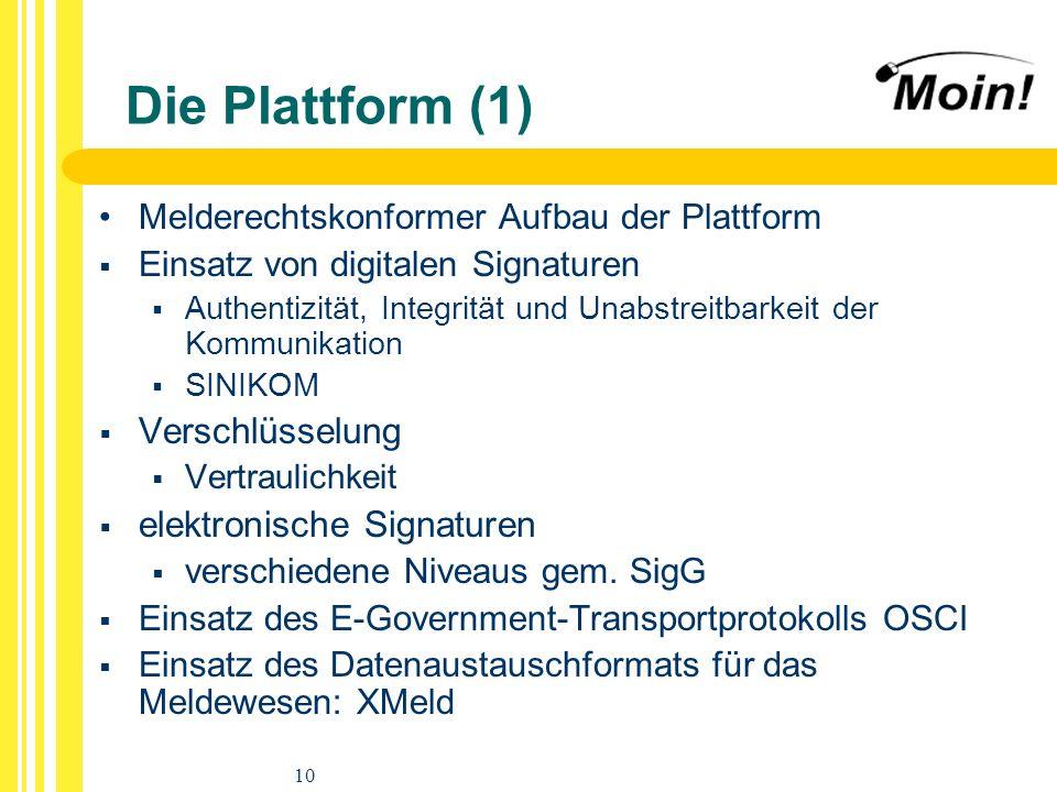 10 Die Plattform (1) Melderechtskonformer Aufbau der Plattform Einsatz von digitalen Signaturen Authentizität, Integrität und Unabstreitbarkeit der Ko