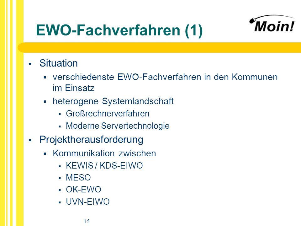 15 EWO-Fachverfahren (1) Situation verschiedenste EWO-Fachverfahren in den Kommunen im Einsatz heterogene Systemlandschaft Großrechnerverfahren Modern