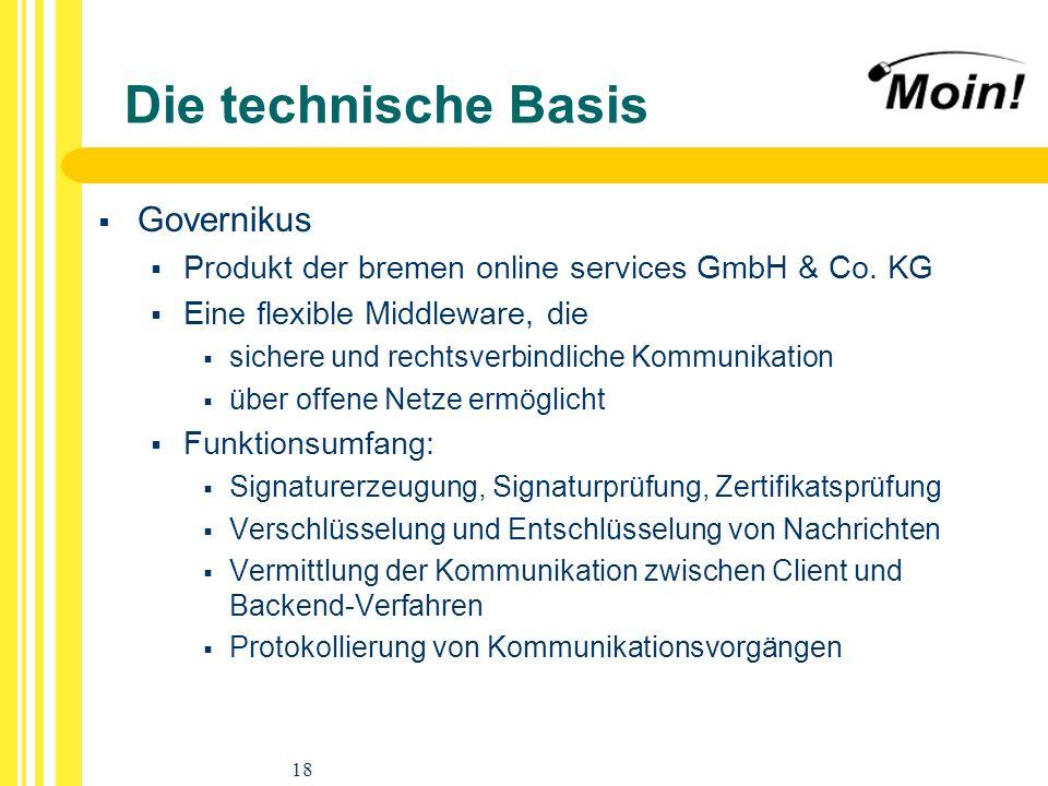 18 Die technische Basis Governikus Produkt der bremen online services GmbH & Co. KG Eine flexible Middleware, die sichere und rechtsverbindliche Kommu