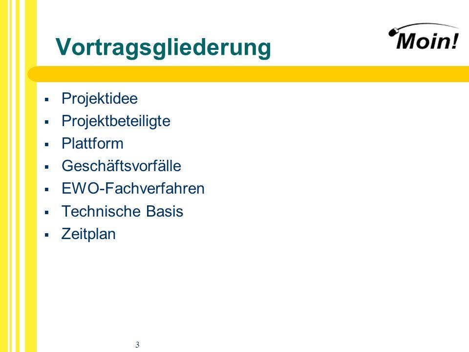 3 Vortragsgliederung Projektidee Projektbeteiligte Plattform Geschäftsvorfälle EWO-Fachverfahren Technische Basis Zeitplan
