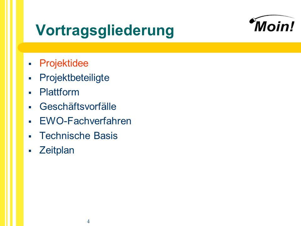 4 Vortragsgliederung Projektidee Projektbeteiligte Plattform Geschäftsvorfälle EWO-Fachverfahren Technische Basis Zeitplan