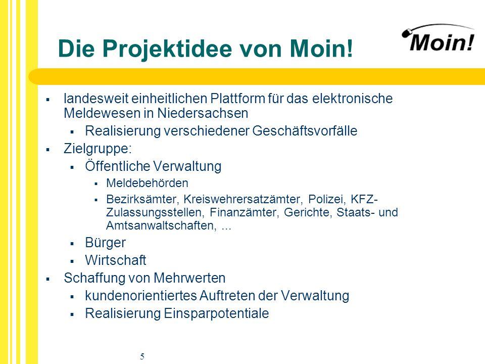 5 Die Projektidee von Moin! landesweit einheitlichen Plattform für das elektronische Meldewesen in Niedersachsen Realisierung verschiedener Geschäftsv
