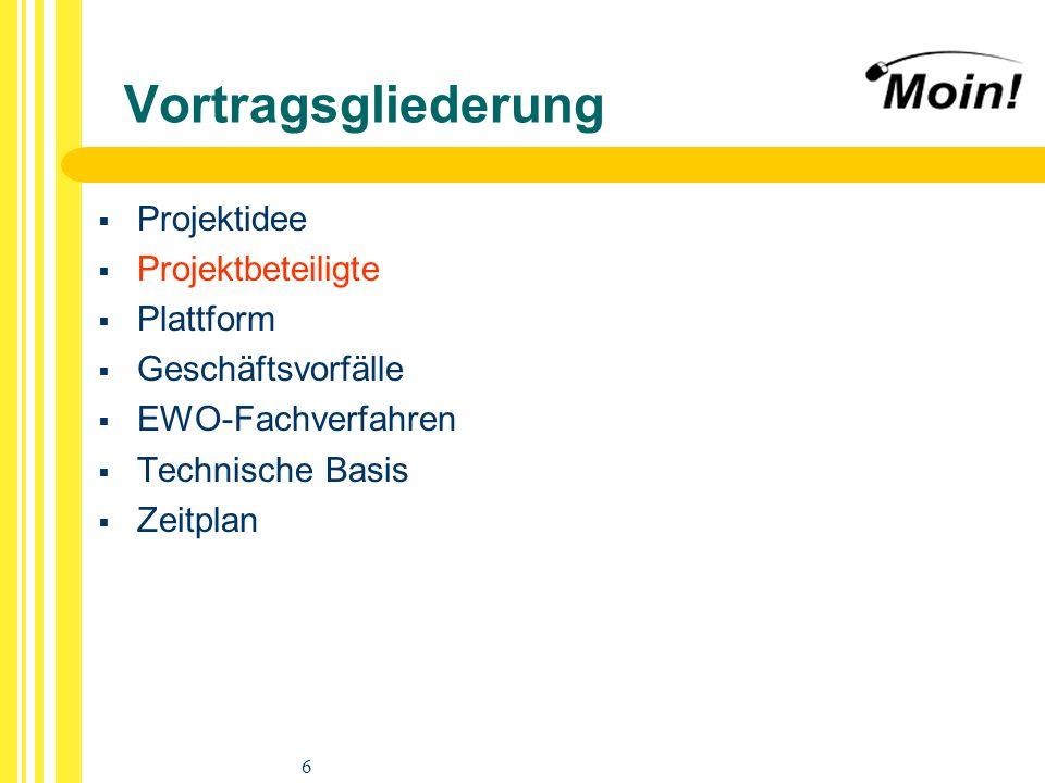 6 Vortragsgliederung Projektidee Projektbeteiligte Plattform Geschäftsvorfälle EWO-Fachverfahren Technische Basis Zeitplan