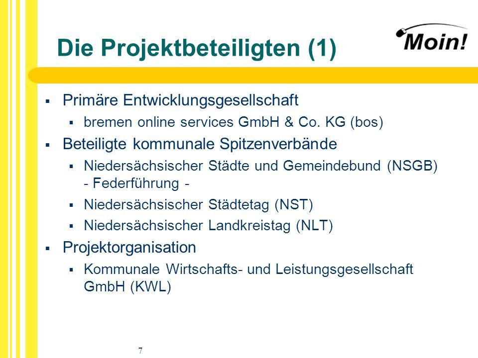 7 Die Projektbeteiligten (1) Primäre Entwicklungsgesellschaft bremen online services GmbH & Co. KG (bos) Beteiligte kommunale Spitzenverbände Niedersä