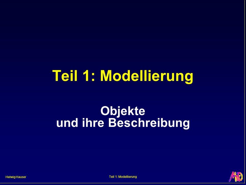 Helwig Hauser Teil 1: Modellierung Objekte – Überblick Basis: Punkte, Liniensegmente, etc.