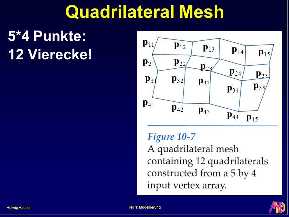 Helwig Hauser Teil 1: Modellierung Quadrilateral Mesh 5*4 Punkte: 12 Vierecke! p 11 p 12 p 13 p 14 p 15 p 21 p 22 p 23 p 24 p 25 p 31 p 32 p 33 p 34 p
