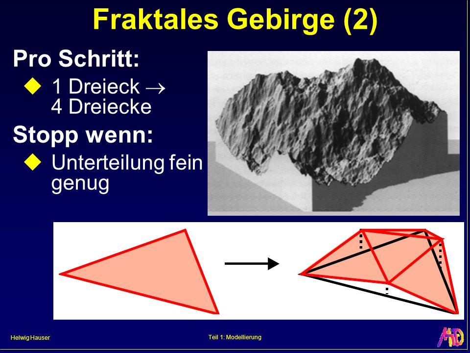 Helwig Hauser Teil 1: Modellierung Fraktales Gebirge (2) Pro Schritt: 1 Dreieck 4 Dreiecke Stopp wenn: Unterteilung fein genug