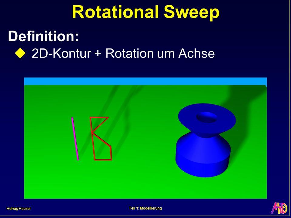 Helwig Hauser Teil 1: Modellierung Rotational Sweep Definition: 2D-Kontur + Rotation um Achse