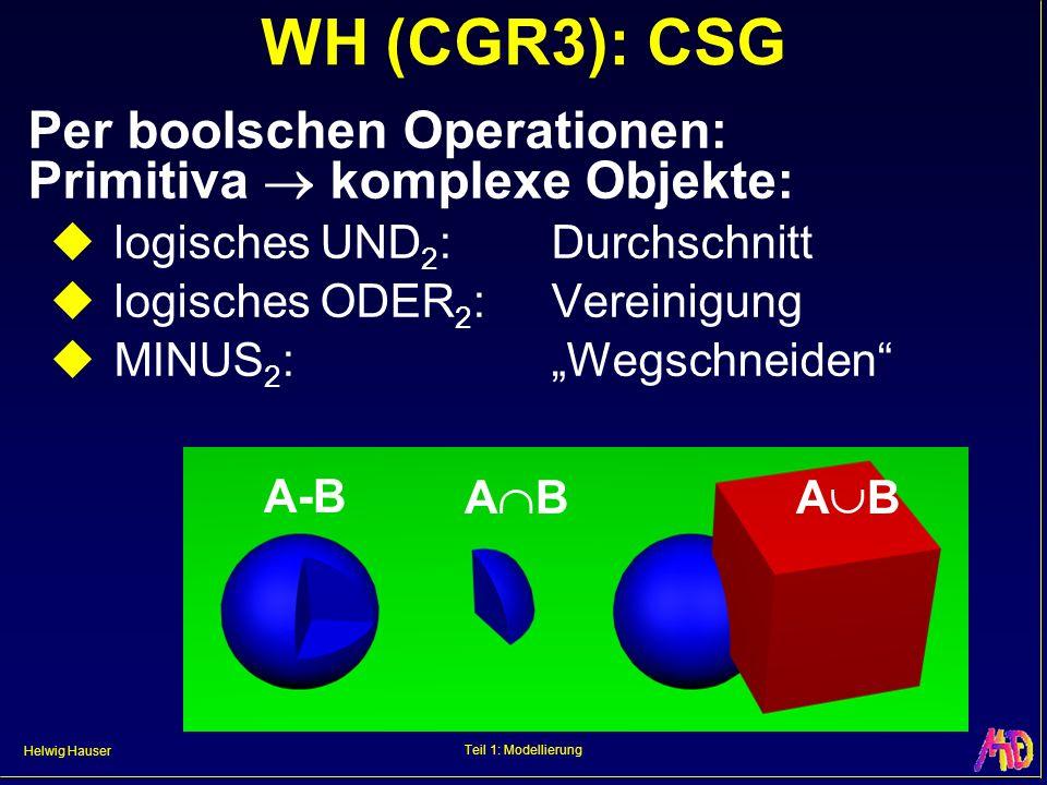 Helwig Hauser Teil 1: Modellierung WH (CGR3): CSG Per boolschen Operationen: Primitiva komplexe Objekte: logisches UND 2 :Durchschnitt logisches ODER