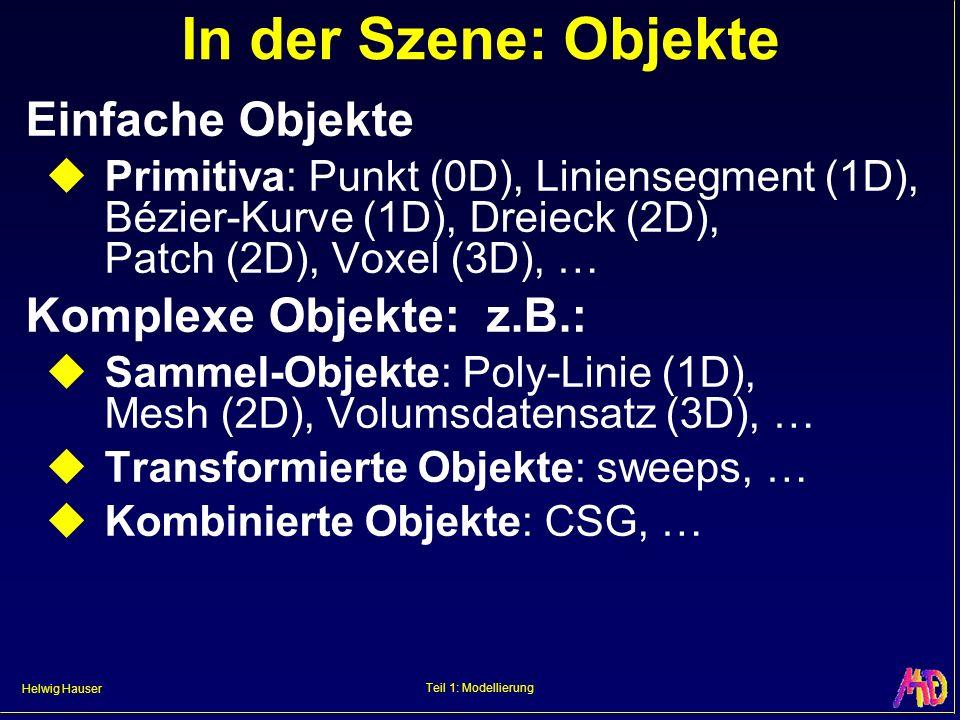 Helwig Hauser Teil 1: Modellierung WH (CGR3): CSG Per boolschen Operationen: Primitiva komplexe Objekte: logisches UND 2 :Durchschnitt logisches ODER 2 :Vereinigung MINUS 2 :Wegschneiden A-B A B