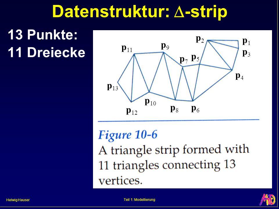 Helwig Hauser Teil 1: Modellierung Datenstruktur: -strip 13 Punkte: 11 Dreiecke p 13 p 12 p 11 p 10 p9p9 p8p8 p7p7 p6p6 p5p5 p4p4 p2p2 p3p3 p1p1