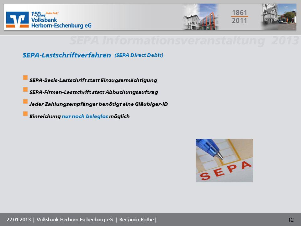 Volksbank Musterstadt eG SEPA Informationsveranstaltung 2013 22.01.2013 | Volksbank Herborn-Eschenburg eG | Benjamin Rothe | SEPA-Lastschriftverfahren