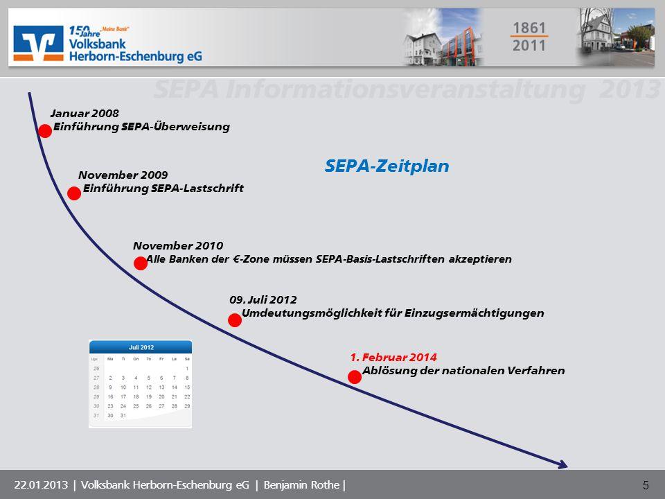 Volksbank Musterstadt eG SEPA Informationsveranstaltung 2013 22.01.2013 | Volksbank Herborn-Eschenburg eG | Benjamin Rothe | SEPA-Zeitplan Januar 2008