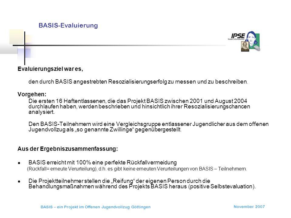 November 2007 BASIS – ein Projekt im Offenen Jugendvollzug Göttingen BASIS-Evaluierung Evaluierungsziel war es, den durch BASIS angestrebten Resoziali