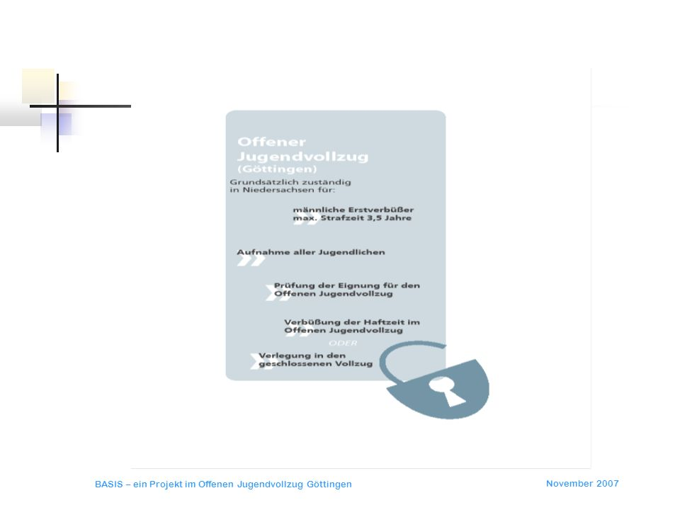 November 2007 BASIS – ein Projekt im Offenen Jugendvollzug Göttingen BASIS Ergebnisse Ergebnisse