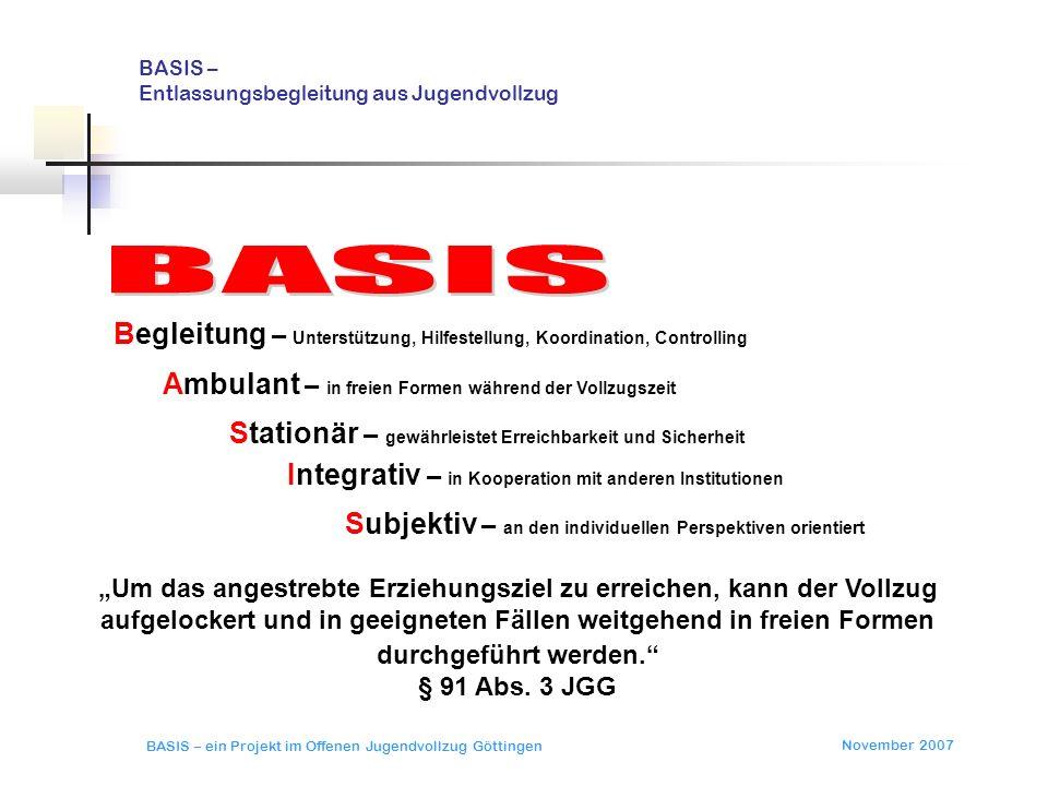 November 2007 BASIS – ein Projekt im Offenen Jugendvollzug Göttingen BASIS – Entlassungsbegleitung aus Jugendvollzug erprobt junge Straftäter vor ihrer Entlassung außerhalb des Vollzugs.