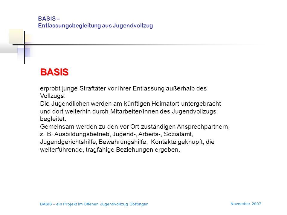 November 2007 BASIS – ein Projekt im Offenen Jugendvollzug Göttingen BASIS – Entlassungsbegleitung aus Jugendvollzug BASIS zielt auf eine systematische, ressortübergreifende Vernetzung.