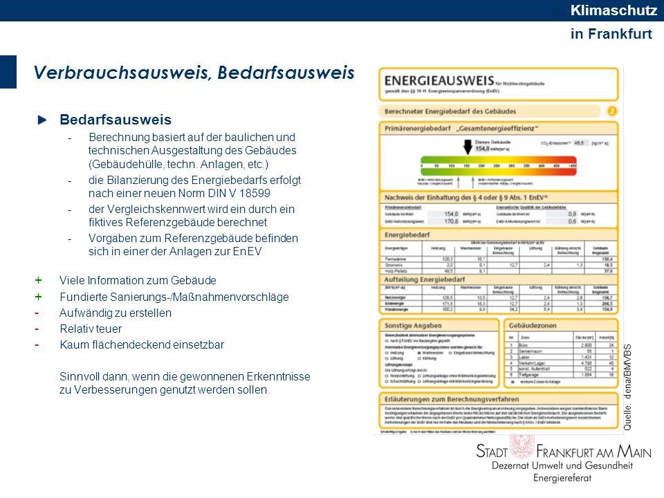 in Frankfurt Klimaschutz Verbrauchsausweis, Bedarfsausweis Bedarfsausweis -Berechnung basiert auf der baulichen und technischen Ausgestaltung des Gebä